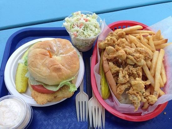 Bob's Clam Hut : haddockwich, cole slaw and whole clam roll with fries