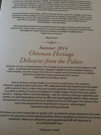 Asitane: overall menu description ~ history