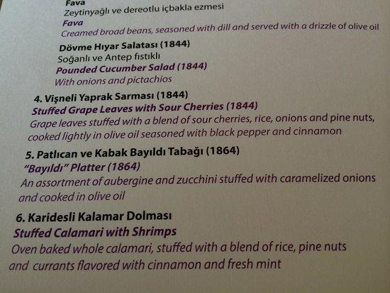 Asitane: menu descriptions