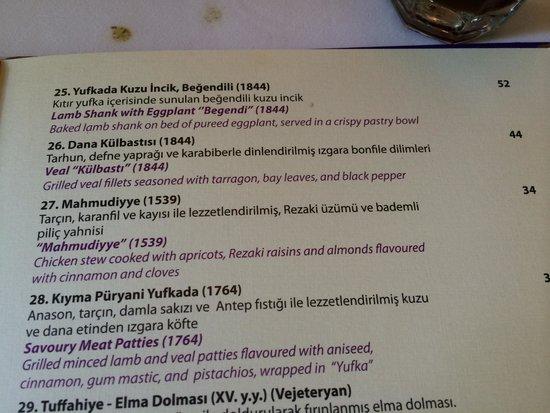Asitane Restaurant: menu descriptions
