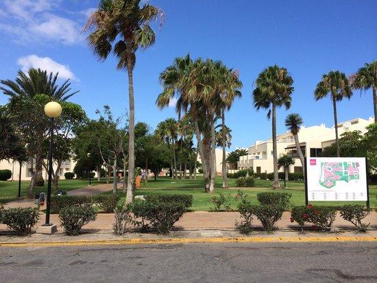 ClubHotel Riu Oliva Beach Resort : Jardín y mapa de entrada zona de bungalows (Oliva Village)