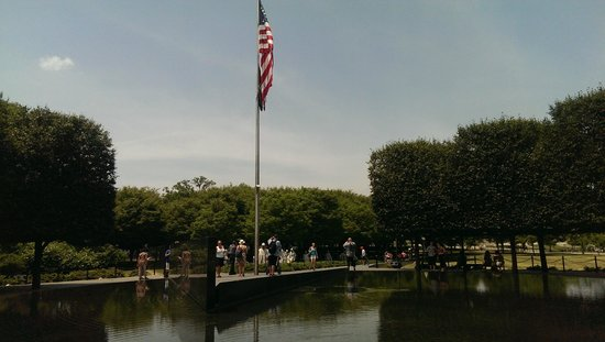 Korean War Veterans Memorial: The flagpole and pond
