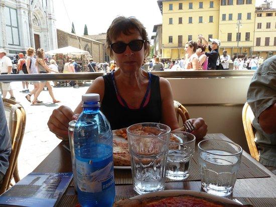 Finisterrae: my wife enjoying her pizza margerita
