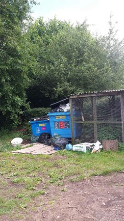 Hollybush Inn & Campsite: Rubbish by the entrance smells