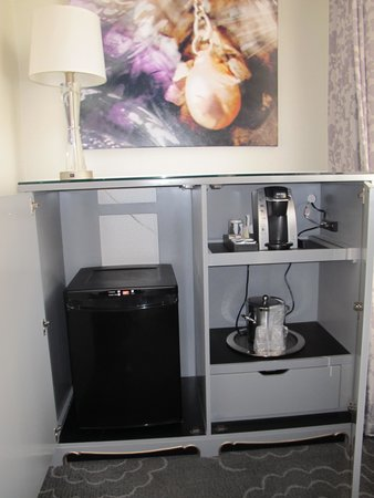 "The Silversmith Hotel: ""Hidden"" amenities - mini fridge, coffee maker and safe (in drawer)."