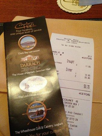 Duck Bay Hotel & Restaurant: conto
