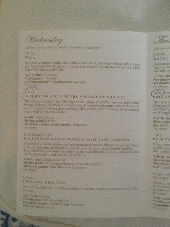 Le Sirenuse Hotel: Activities