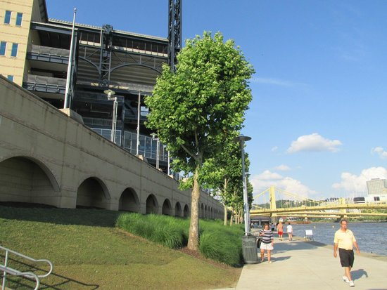 Looking at PNC Park from the riverwalk