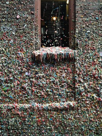 Savor Seattle Food Tours: Bubble gum wall in alley.