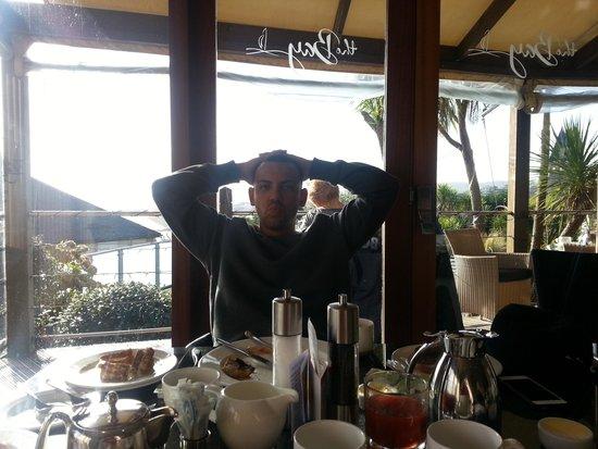 Hotel Penzance : Dan enjoying his breakfast!
