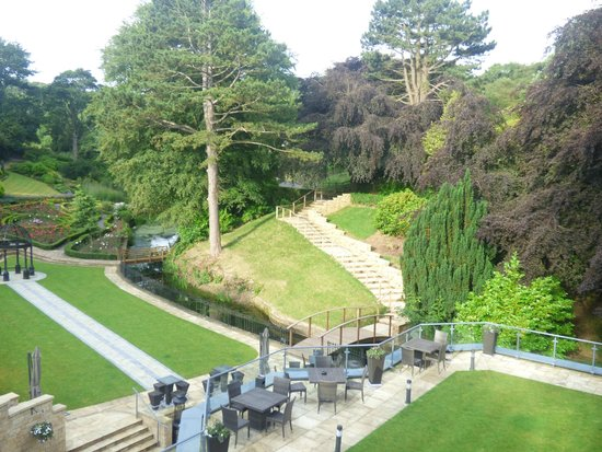 Raithwaite Estate: View of gardens from room