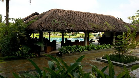 Vasundhara Sarovar Premiere: The thatched roof area next to the pool