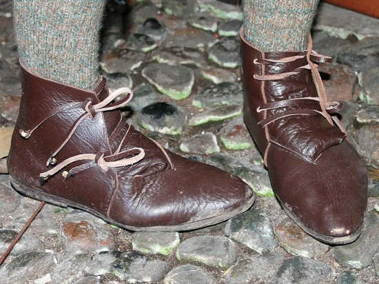 Stretton Watermill: Hand made Tudor style shoes.