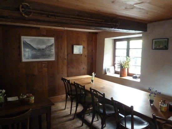 Refuge de Miage: indoor dining/ breakfast room