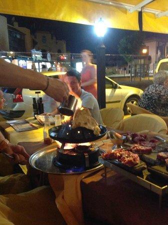Fado Rock Steak House: Flaming a pancake - Fado Rock