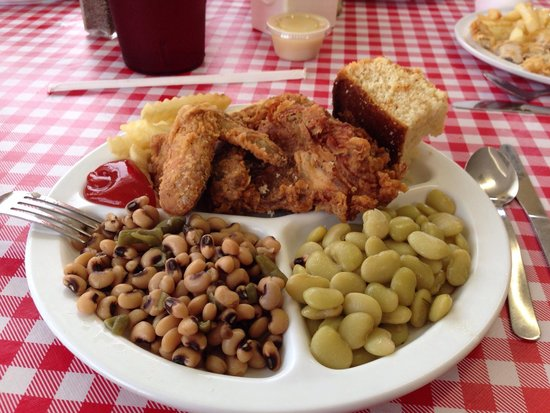 Dixie Fried Chicken & Seafood: Fried Chicken, Lima Beans & Field Peas.