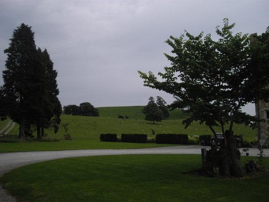 Hellifield Peel Castle: View from the front of the castle, looking towards the fields to the rear