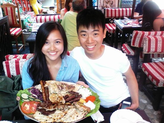 National Restaurant Cevabdzinica Tima - Irma: Plate of mix meat for two :-) with friends from Singapore