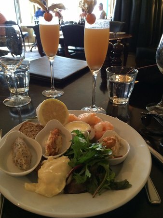 Hotel du Vin : My seafood starter at Sunday brunch (only one of the Bellinis is mine!)