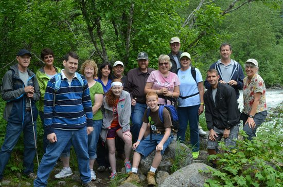 White Pass & Yukon Route Railway : July 10,2014  The group we were in....two different ships