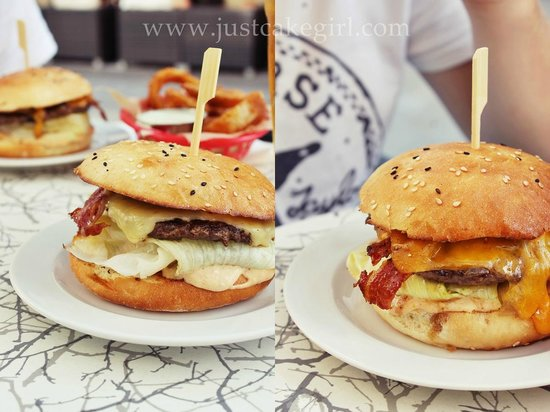 Rocket Burger Cafe : The burgers - right the cheeddar supreme and left the bacon cheeseburger