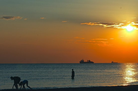 Antony Gormley's Another Place: Sunset