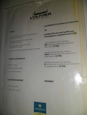 Iberostar Averroes: menu