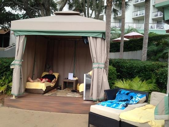 The Westin Hilton Head Island Resort & Spa : Our cabana. $150/day for tv, stocked fridge, 2 towels to keep. you can also book 1/2 days. Our f