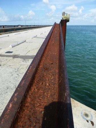 Seven Mile Bridge: Old rails make the railing - look for date/place stamps.