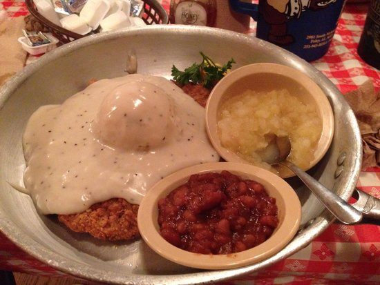 Lambert's II: Chicken fried steak with baked beans and apple sauce
