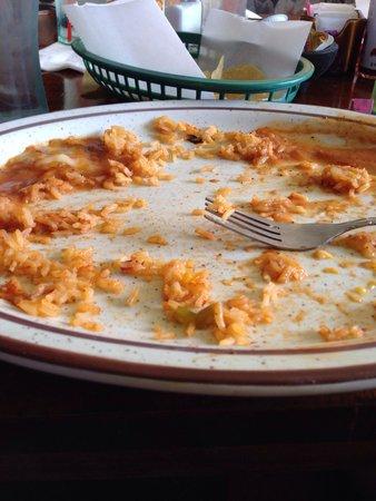 Don Perico: 2 enchiladas with rice
