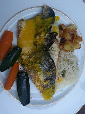 Hotel Le Pavillon du Chateau de Garrevaques : Filet de poisson crème de safran