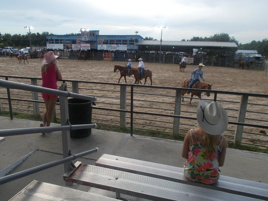 The Kissimmee Sports Arena Rodeo : My girls watching them warm up