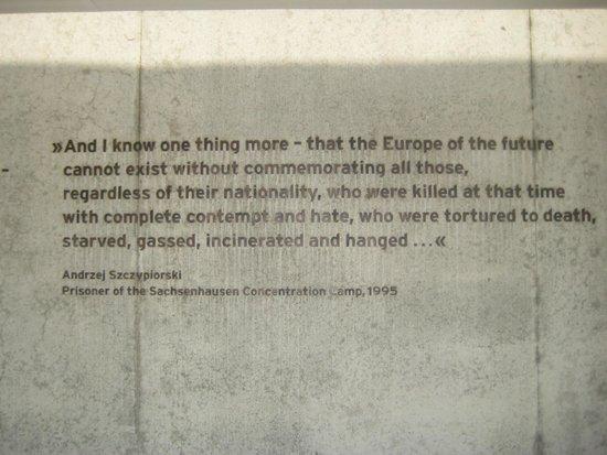 Gedenkstätte und Museum Sachsenhausen: inscribed upon the krematorium