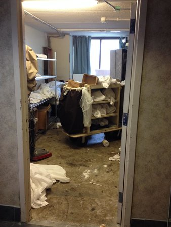 Clarion Hotel & Conference Center: this was a closet we saw! horrible!