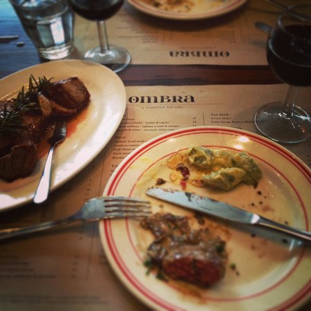 Ombra: Perfect Lunch.. Meatballs, Lamb and Cannolo