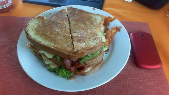 Dona Goya Cafe and Bar: Club Sandwich with tocino (a meal for two)