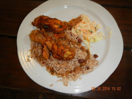 Belize Zipline and Cave Tubing Adventure: typical Belize dish with chicken, rice, & beans