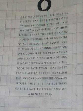 Jefferson Memorial: The scripture verse which is the basis for the Constitution and Bill of Rights.