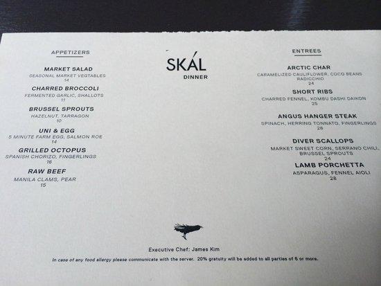 SKAL menu - Picture of SKAL, New York City - TripAdvisor