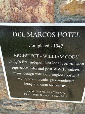 Del Marcos Hotel: Historic designation plaque