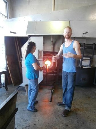 Tacoma Glassblowing Studio : My sister creating her Masterpiece.