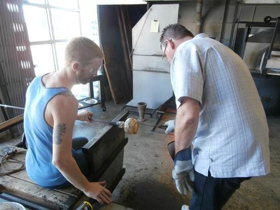 Tacoma Glassblowing Studio: Brian sharing his expertise.