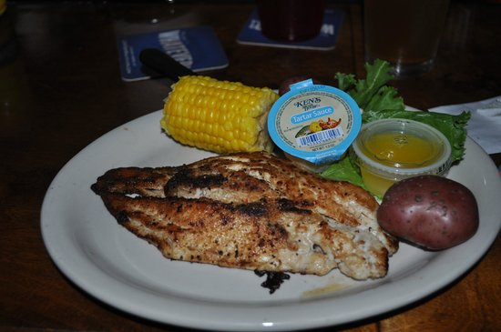 Gulf Shores Steamer: Delicious crab stuffed Mahi Mahi.  Served with boiled corn and potatoes.