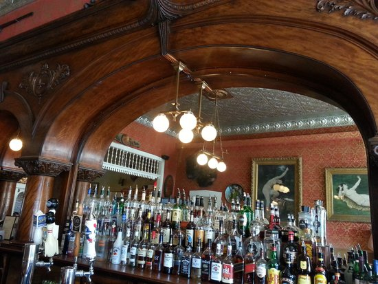 The Grand Restaurant and Saloon : The original back bar including a real bullet hole from a gunfight