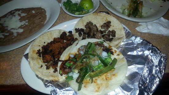 El Comal - Authetic Mexican Restaurant: Tacos Al pastor, chorizo, and asada.