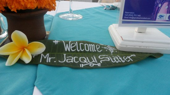 Spice Beach Club: The welcome sign on our table