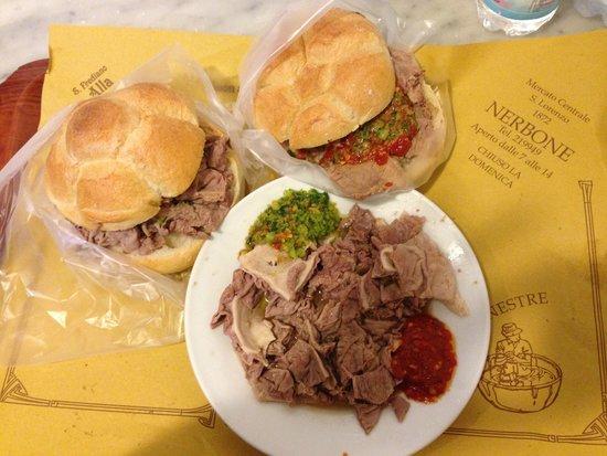 da Nerbone: Panino lampredotto, panino bollito, and a plate of lampredotto