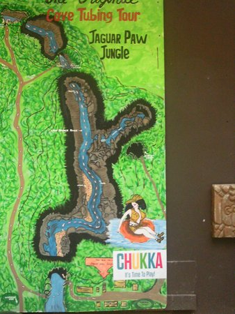Chukka Caribbean Adventures in Belize: Map of cave and river