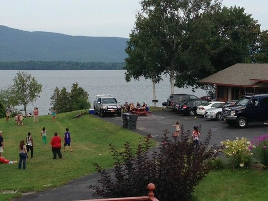 Capri Village on Lake George: View from outside room. Blacktop gathering parties :)